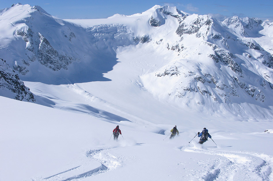 Skiing the alpine at the Durrand Glacier