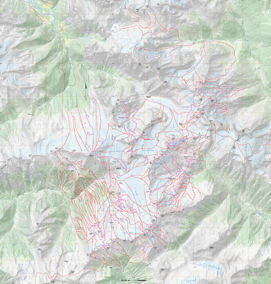 Ski Map of the Durrand Glacier